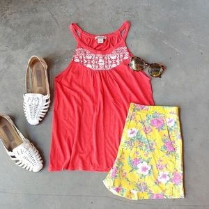 Lucky Brand Coral Tank with White Embroidery small